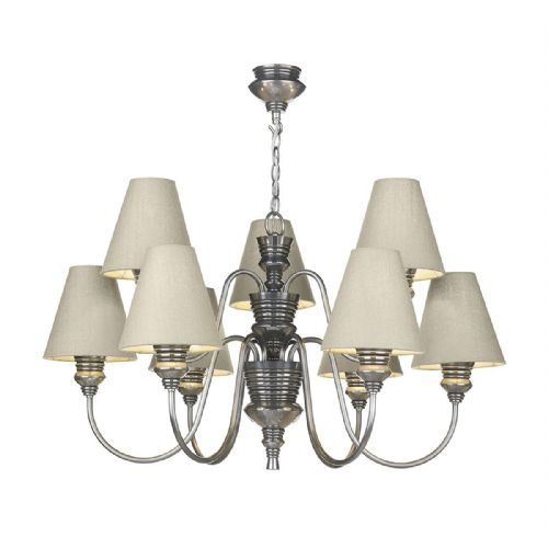 Dar Doreen 9 Light Pewter Pendant complete with Silk Shades (Specify Colour) DOR1399